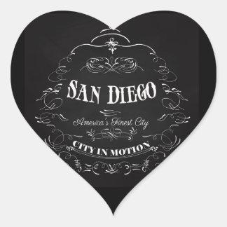 San Diego la ciudad más fina de California, Pegatina En Forma De Corazón