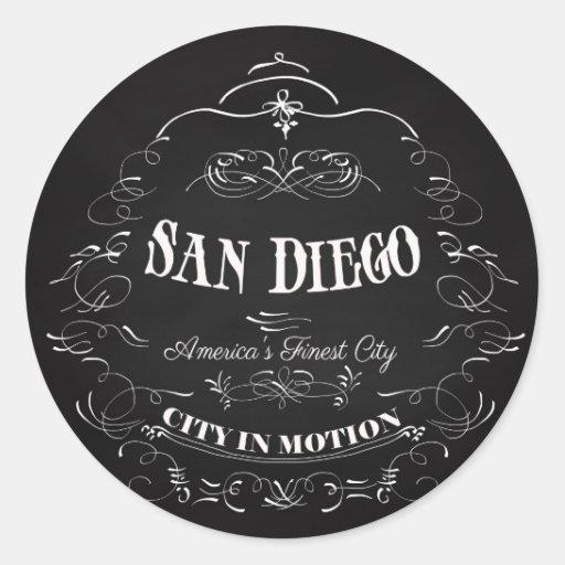 San Diego la ciudad más fina de California, Pegatina Redonda