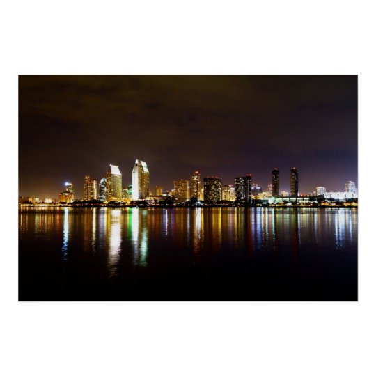 San Diego Night Skyline Poster
