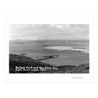 San Diego, opinión de CA del punto y de la bahía Postales