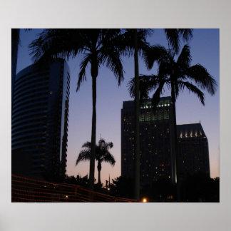 San Diego Palm Skyline Poster