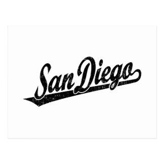 San Diego script logo in black distressed Postcard