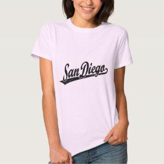 San Diego script logo in black distressed T-Shirt