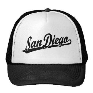 San Diego script logo in black Hats