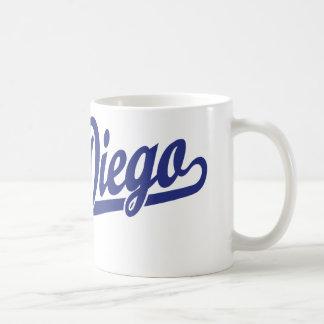 San Diego script logo in blue Coffee Mug