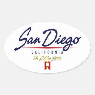 San Diego Script Oval Sticker