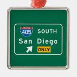 San Diego, señal de tráfico de CA Adorno Navideño Cuadrado De Metal