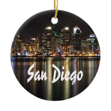 Beach Themed San Diego Skyline at night Ceramic Ornament
