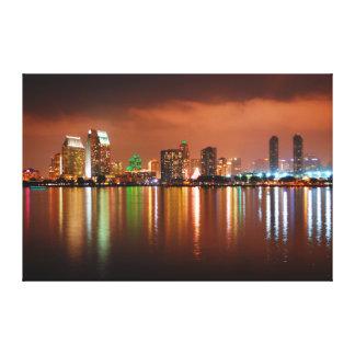 San Diego Skyline at Night - San Diego California Canvas Print