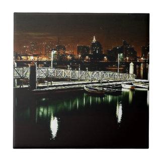 San Diego Skyline at Night Tiles