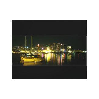 San Diego Skyline & Bay at Night Canvas Print