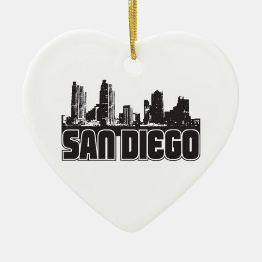 San Diego Skyline Ceramic Ornament