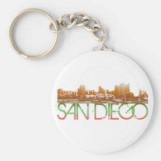 San Diego Skyline Design Basic Round Button Keychain