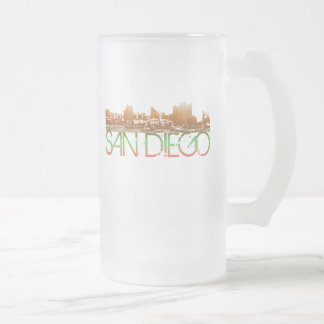 San Diego Skyline Design Frosted Glass Beer Mug