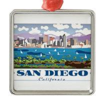 San Diego Skyline Metal Ornament