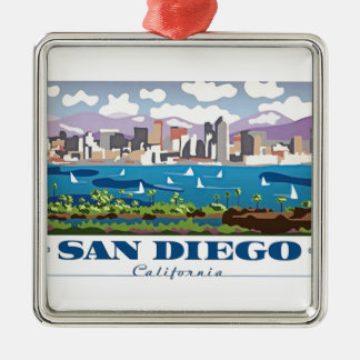 San Diego Skyline Metal Ornament