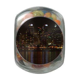 San Diego Skyline Night Glass Candy Jar