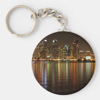 San Diego Skyline Night Keychain