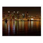 San Diego Skyline Night Postcard