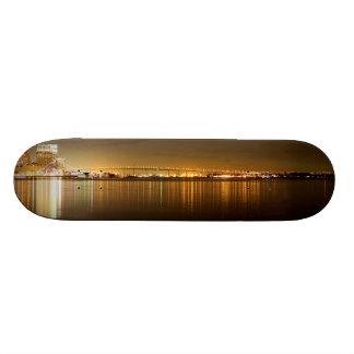 San Diego Skyline Night Skateboard