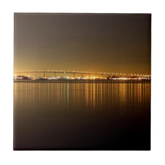 San Diego Skyline Night Tile