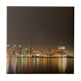 San Diego Skyline Night Ceramic Tile