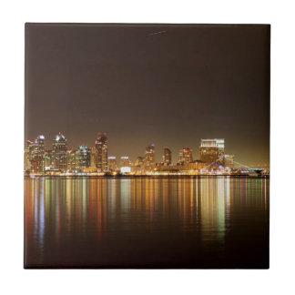 San Diego Skyline Night Ceramic Tiles