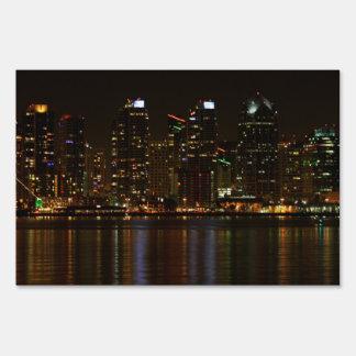San Diego Skyline Night Yard Sign