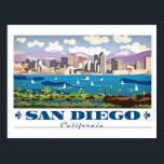 "San Diego Skyline Postcard<br><div class=""desc"">San Diego is a city on the Pacific coast of California known for its beaches, parks and warm climate. Immense Balboa Park is the site of the world-famous San Diego Zoo, as well as numerous art galleries, artist studios, museums and gardens. A deep harbor is home to a large active...</div>"