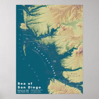 San Diego--Subida extrema del nivel del mar Poster