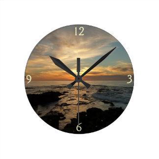 San Diego Sunset I California Seascape Round Clock