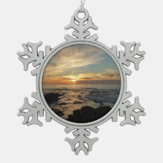 San Diego Sunset I California Seascape Snowflake Pewter Christmas Ornament