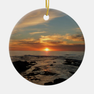San Diego Sunset II California Seascape Double-Sided Ceramic Round Christmas Ornament