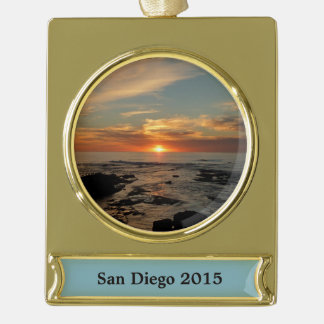 San Diego Sunset II California Seascape Gold Plated Banner Ornament