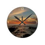San Diego Sunset II California Seascape Round Clock