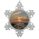 San Diego Sunset II California Seascape Snowflake Pewter Christmas Ornament