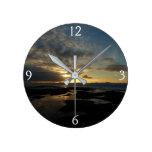 San Diego Sunset III Stunning California Landscape Round Clock