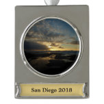 San Diego Sunset III Stunning California Landscape Silver Plated Banner Ornament