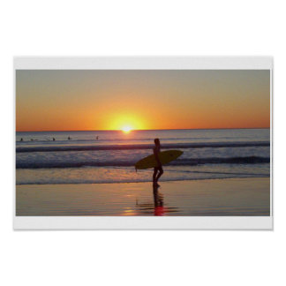 San Diego Sunset with Surfer Poster