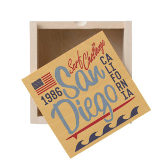 San Diego Surf Challenge 1986 Wooden Keepsake Box