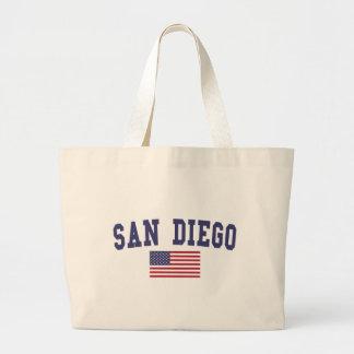 San Diego US Flag Large Tote Bag