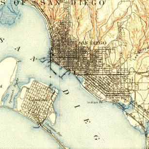 Vintage San Diego Map.Vintage San Diego Map Gifts On Zazzle