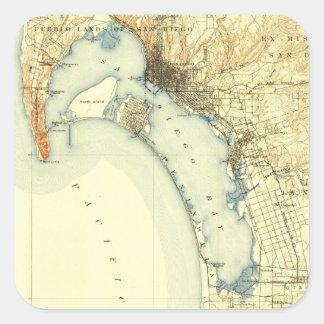 San Diego Vintage Map Square Sticker