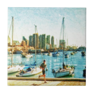 San Diego Waterfront by Shawna Mac Small Square Tile