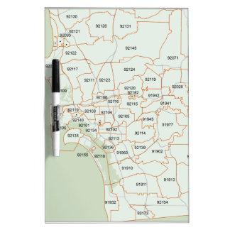 San Diego Zip Code Map Dry Erase Whiteboards