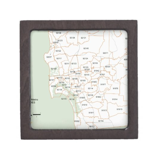 San Diego Zip Code Map Keepsake Box | Zazzle.com