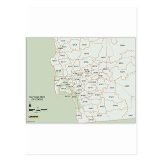 San Diego Zip Code Map Postcard