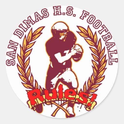 San Dimas HS Football RULES! Classic Round Sticker