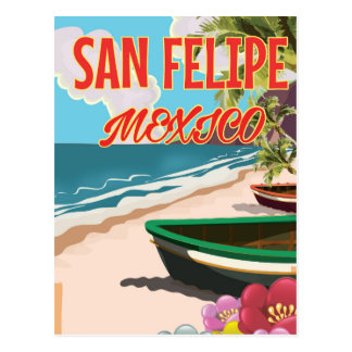 San Felipe Beach Mexico travel poster Postcard