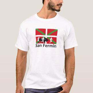 San Fermin bull run in Pamplona and Basque flag, T-Shirt